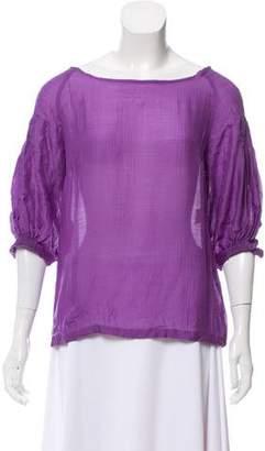 Dries Van Noten Silk Three-Quarter Sleeve Top