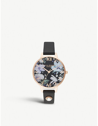 Olivia Burton OB16BF23 Bejewelled Florals 18ct rose-gold and leather strap watch