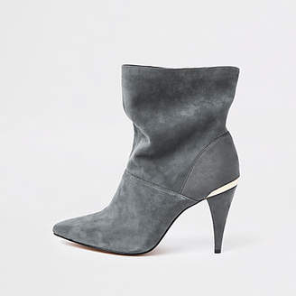 River Island Grey wide fit suede slouch cone heel boots