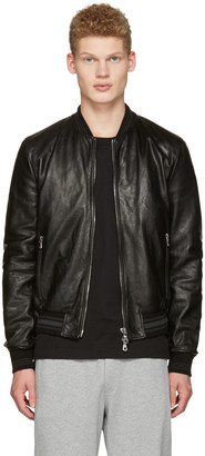 Dolce & Gabbana Black Washed Leather Bomber Jacket $2,595 thestylecure.com