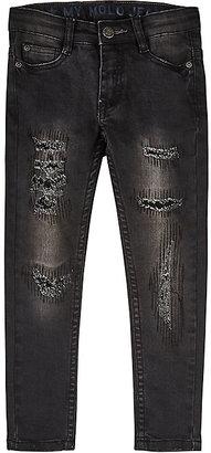 Molo Kids Distressed Stretch-Cotton Jeans-Black $90 thestylecure.com