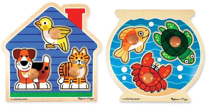 Melissa & Doug Fish & Pets Jumbo Knob Puzzle Bundle