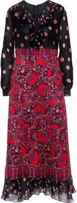 Anna Sui Metallic Silk-blend Georgette And Printed Cotton Midi Dress