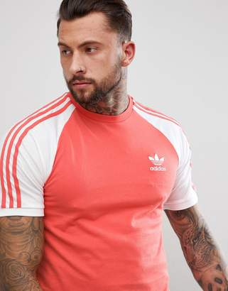 adidas Adicolor Raglan California T-Shirt In Red Cw1204