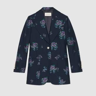 Gucci Flowers fil coupé cotton wool jacket