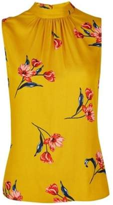 Dorothy Perkins Womens Petite Yellow High Neck Floral Print Top