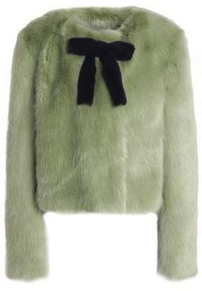Shrimps Bow-Embellished Faux Fur Coat