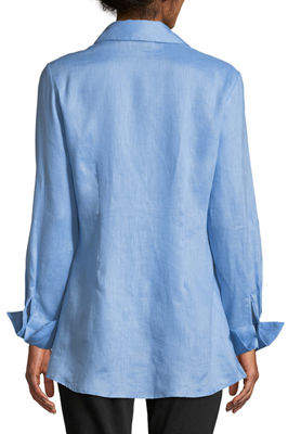 Neiman Marcus Tie-Front Button-Front Blouse
