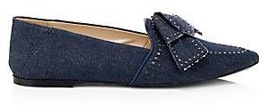 Tod's Women's Denim Point-Toe Bow Flats