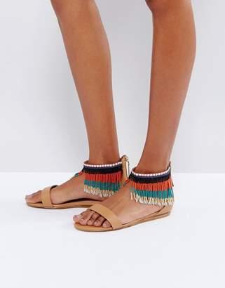 Aldo Larysa Two Part Beaded Flat Sandals