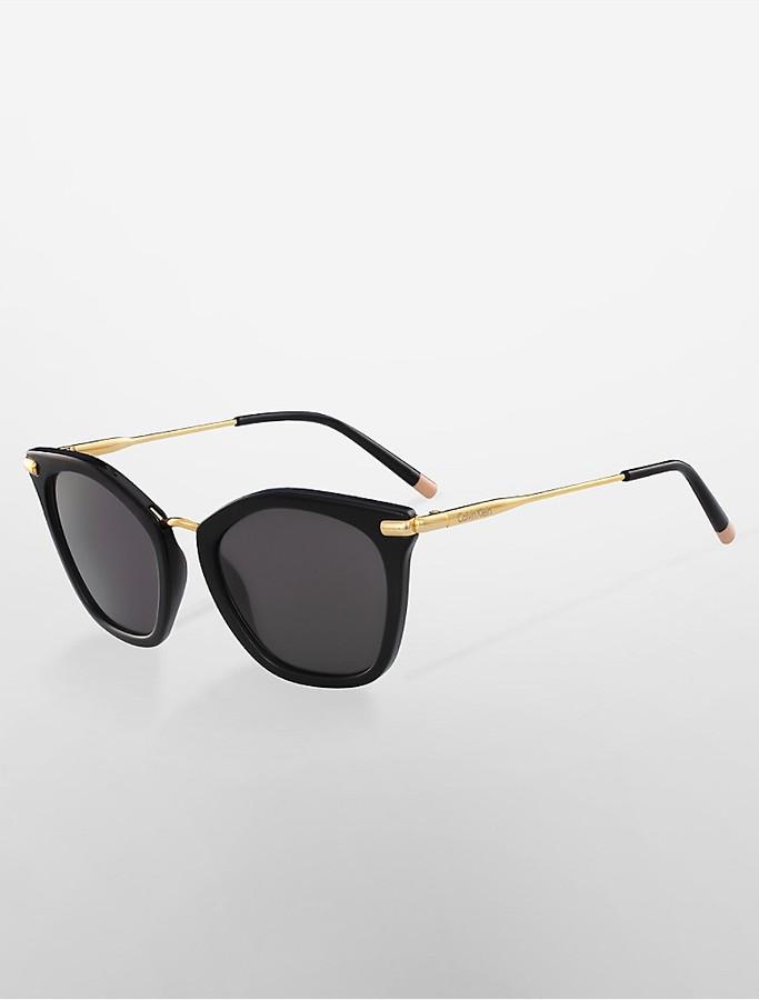 Calvin KleinPlatinum Butterfly Double-Bar Sunglasses