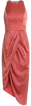 Zimmermann Asymmetric Gathered Washed Silk-Satin Dress