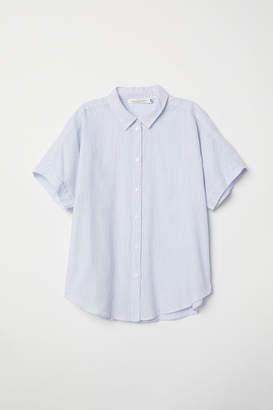 H&M Short-sleeved Cotton Shirt - Blue
