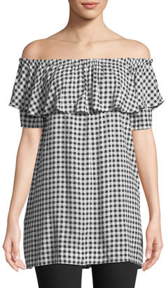 Neiman Marcus Off-The-Shoulder Gingham Tunic
