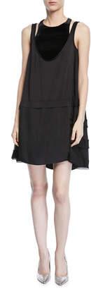 Valentino Sleeveless Hammered Satin Dress w/ Sheer Sides