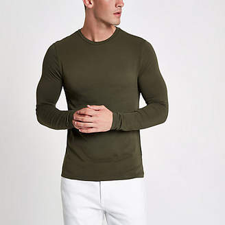 River Island Khaki muscle fit long sleeve T-shirt