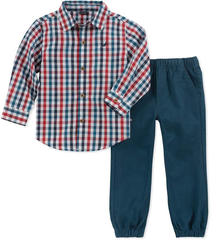 Nautica 2-Piece Plaid Shirt and Pant Set in Red/Blue