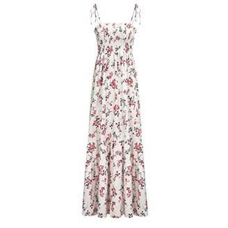 UVAN ART Women's Bohemian Maxi Dress Floral Print Casual Long Dresses Plus Size Strap Dress (