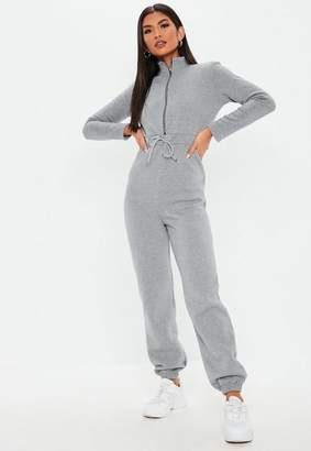 Missguided Gray Zip Front Tracksuit Romper