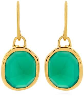 Monica Vinader Green Onyx Siren Wire Earrings