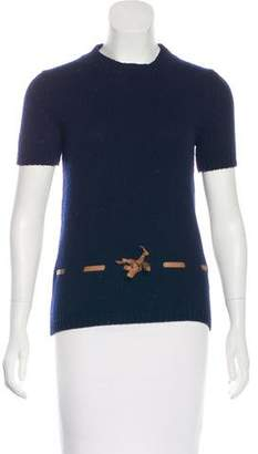 Barneys New York Barney's New York Cashmere Leather-Trimmed Top