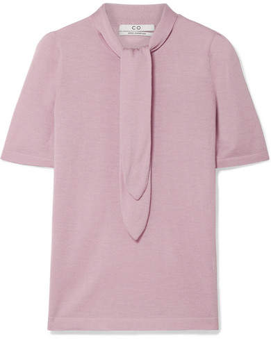 Co Pussy-bow Cashmere Top