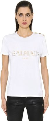Logo Printed Cotton Jersey T-Shirt $207 thestylecure.com