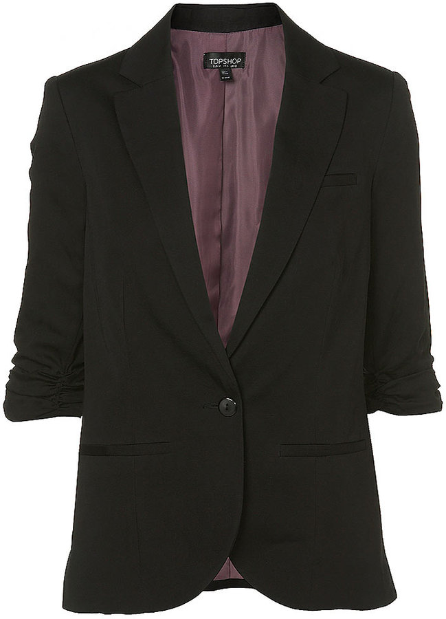 Gathered Sleeve Blazer