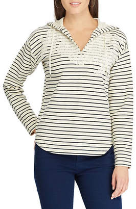 Chaps Petite Embroidered Striped Hoodie