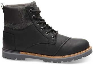 Waterproof Black Leather Brushed Wool Men's Ashland Boots