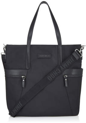 Jimmy Choo BALFOUR Black Woven Nylon and Satin Leather Tote Bag