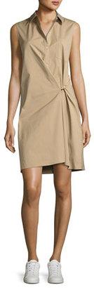 Theory Lenmana Stretch-Cotton Sleeveless Shirtdress, Beige $295 thestylecure.com