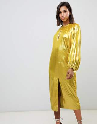 Asos EDITION metallic velvet midi dress with blouson sleeve