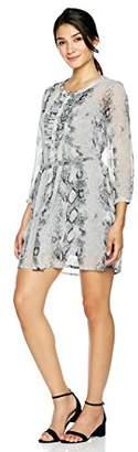 Signature Society Women's Sheer-Sleeve Snake-Print Dress Grey Print