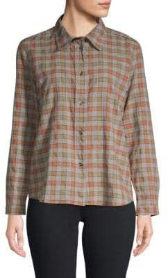 A.P.C. Plaid Button Down Cotton Blouse