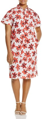 Marina Rinaldi Decimo Brushstroke Floral Shirt Dress $390 thestylecure.com