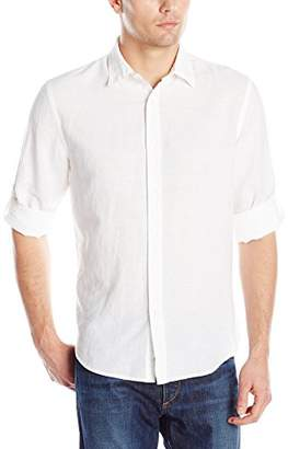Perry Ellis Men's Rolled-Sleeve Solid Linen Cotton Shirt