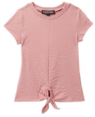 Trixxi Rib Knit Tie Front Tee (Big Girls)