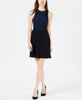French Connection Pleated Colorblocked Dress