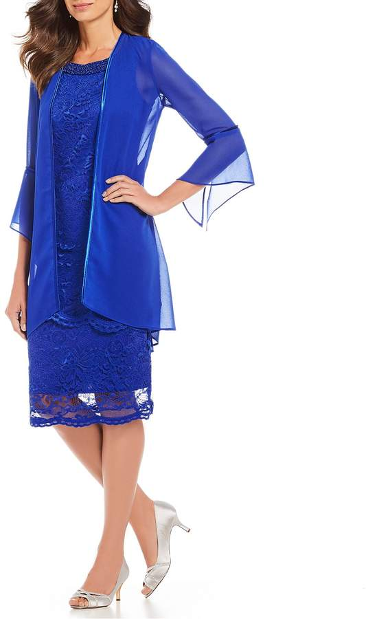 Le Bos 2-Piece lace Bell Sleeve Jacket Dress
