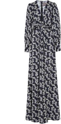 Lela Rose V-Neck Draped Gown
