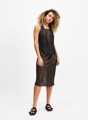 dea46bec Miss Selfridge Black Sequin Mesh Midi Dress