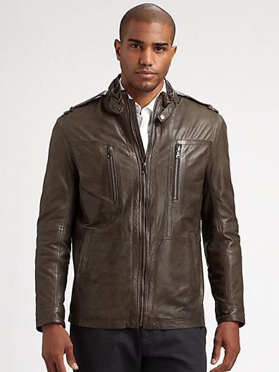 Boss Black Nelbin Leather Jacket