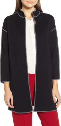 Anne Klein Piped Detail Nehru Sweater Coat