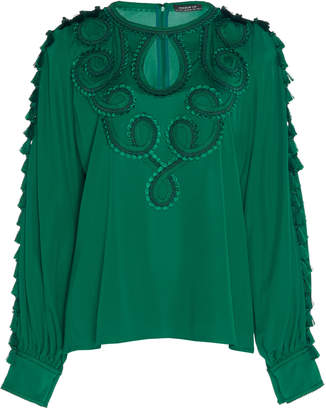 Andrew Gn Tasseled Embroidered Georgette Top