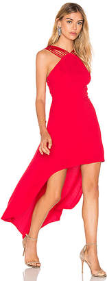 Halston Strappy Halter Hi Lo Dress
