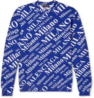 Balenciaga Oversized Jacquard-Knit Virgin Wool-Blend Sweater