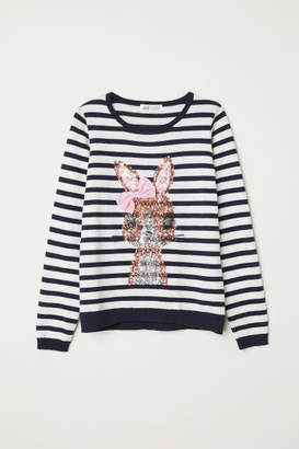 H&M Knit Sweater with Motif - Blue