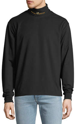Alexander Wang Men's Embroidered Turtleneck Jersey T-Shirt