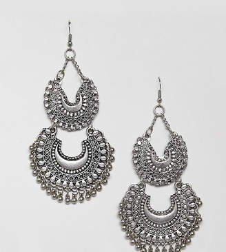 Sacred Hawk double crescent drop earrings
